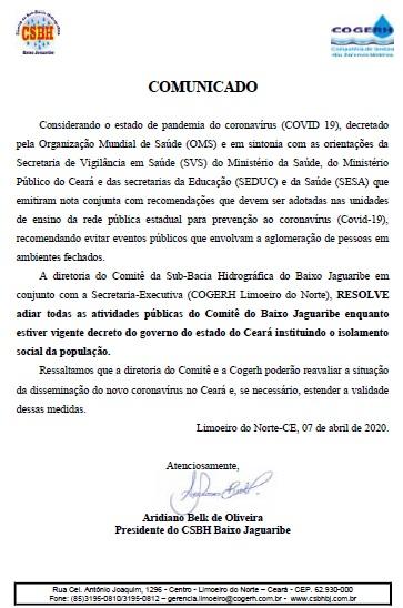 CSBH Baixo Jaguaribe suspende atividades em função da pandemia do COVID-19